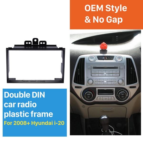 Excellent Black Double Din 2008+ Hyundai i-20 Car Radio Fascia Plate Frame Installation Kit DVD Stereo Player