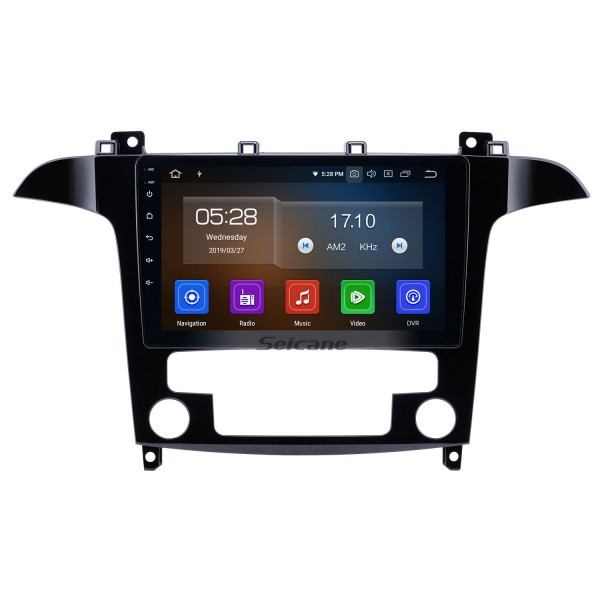 9 inch Android 9.0 GPS Navigation Radio for 2007-2008 Ford S-Max Auto A/C with HD Touchscreen Carplay AUX Bluetooth support TPMS