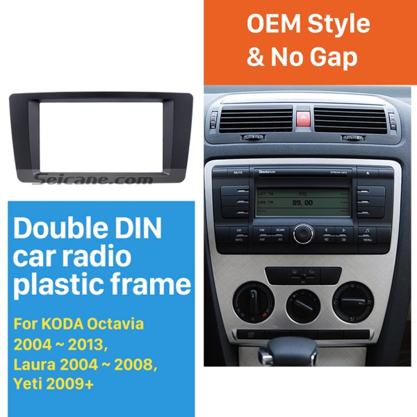 173*98mm Double Din Car Radio Fascia for 2004-2013 Skoda Octavia Laura Yeti Audio Player Trim Panel Kit Stereo Dashboard Install Frame