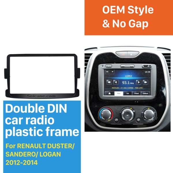 Classic 2 Din car radio Fascia for 2012-2014 RENAULT DUSTER SANDERO LOGAN Auto Stereo Interface Panel Dash Trim Kit DVD Frame