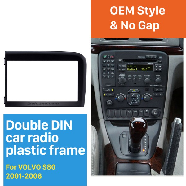 Black Double Din Car Radio Fascia for 2001 2002 2003 2004 2005 2006 Volvo S80 Dash Kit DVD GPS Decorative Frame Dashboard Panel