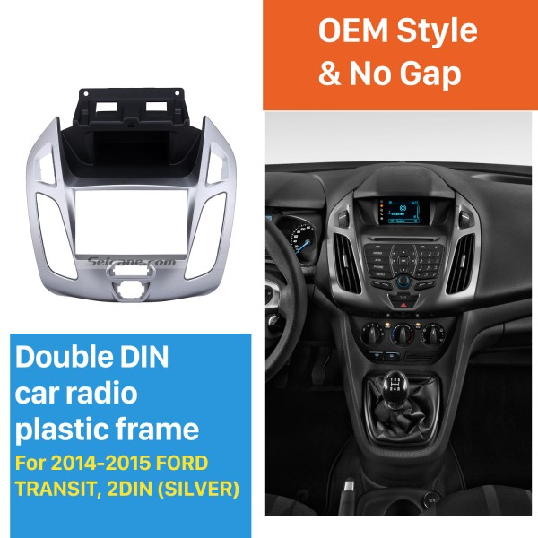Silver Double Din Car Radio Fascia for 2014 2015 Ford Transit Dash Mount Stereo Install Frame Car Dashboard Covers