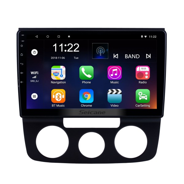 10.1 inch Android 8.1 GPS Navigation Radio for 2006-2010 VW Volkswagen Bora Manual A/C With HD Touchscreen Bluetooth support Carplay Rear camera