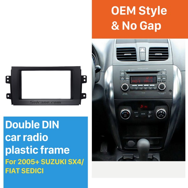 Black 2Din 2005+ Suzuki SX4 Fiat Sedici Car Radio Fascia Stereo Player Panel Face Plate Install Frame