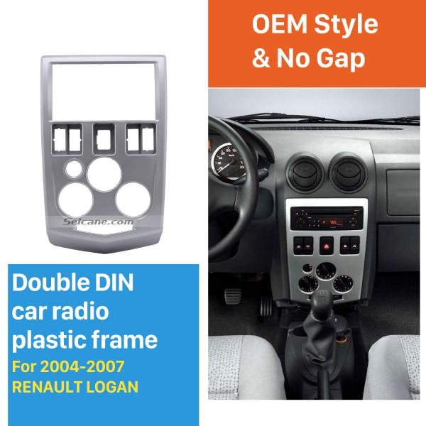 Popular 2Din car radio Fascia for 2004 2005 2006 2007 RENAULT LOGAN Trim Dash CD Installation Kit Stereo Interface Frame Panel