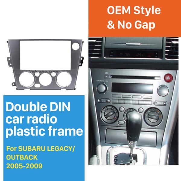 Black 2Din Car Radio Fascia for 2005-2009 Subaru Legacy Outback Left Hand Car Dash CD Plate Frame Stereo Fitting Kit