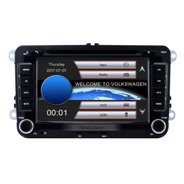 2 DIN 7 Inch HD Touchscreen DVD Player For 2003-2013 VW Volkswagen Golf 5 Caddy Touran Passat Jetta SAGITR Car Stereo GPS Navigation Bluetooth Radio Music Support Rear View Camera Steering Wheel Control