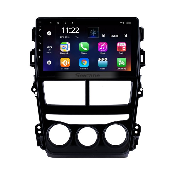 Aftermarket Android 10.0 GPS Navigation 9 inch HD Touchscreen Stereo for 2018 Toyota Vios/Yaris LHD Manual Air Conditioner USB music Bluetooth Wifi Backup Camera Steering Wheel Control DVR