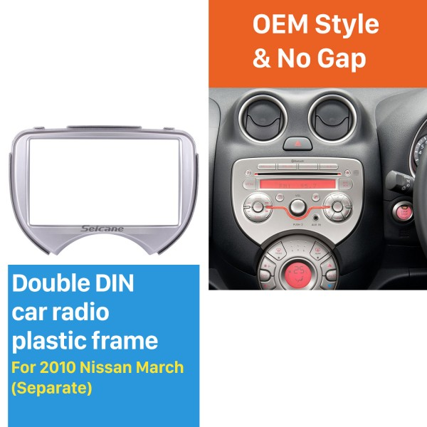 Separate Double Din 2010 Nissan March Car Radio Fascia Dash Trim Kits Frame Panel Autostereo Interface