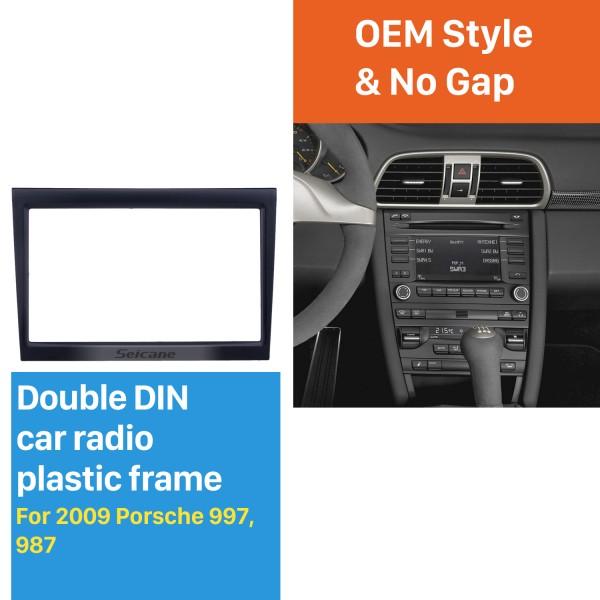 Black Double Din Car Radio Fascia for 2009 PORSCHE 997 987 Stereo Adapter Panel Kit Dash CD DVD Frame