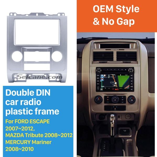 Silver 2Din Car Radio Fascia for Ford Escape MAZDA Tribute MERCURY Mariner Dash CD Installation Kit Plate Frame Audio Player