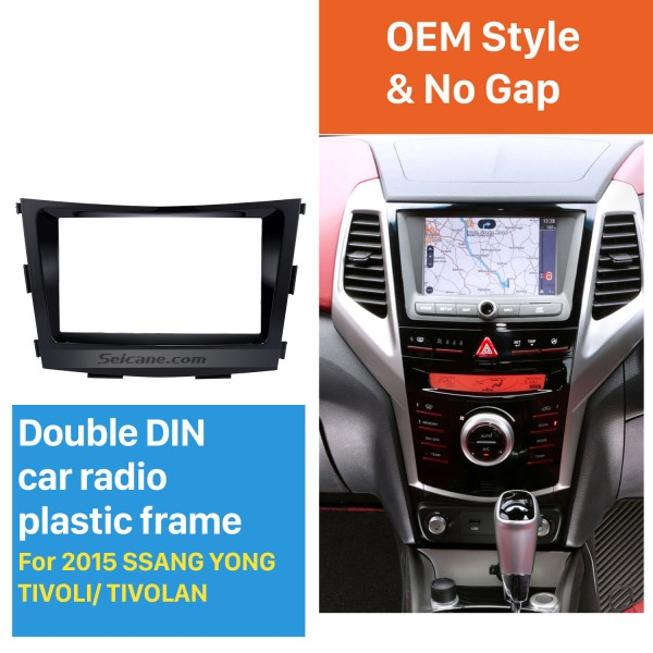 Crafted 2 Din Car Radio Fascia for 2015 SSANG YONG TIVOLI TIVOLAN Audio Fitting Frame Adaptor CD Trim Panel Fascia Plate