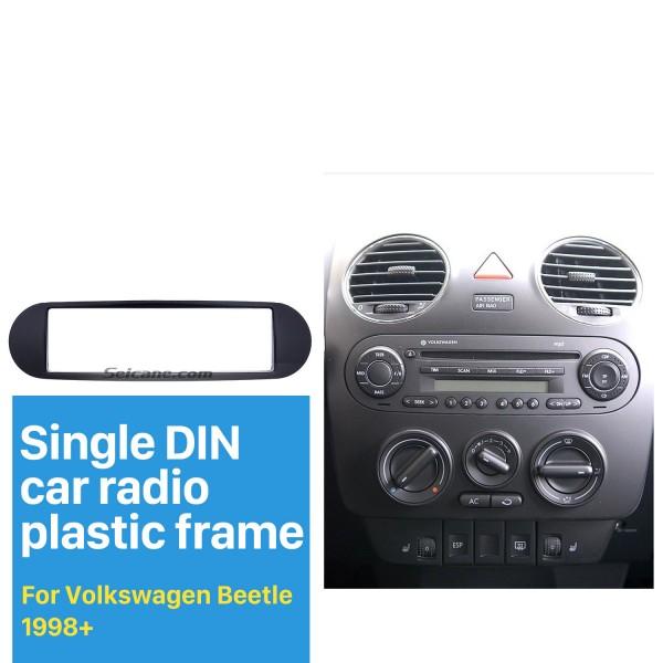 Black 1Din 1998+ Volkswagen Beetle Car Radio Fascia Auto Stereo Trim Panel Dash Mount Kit Install Frame