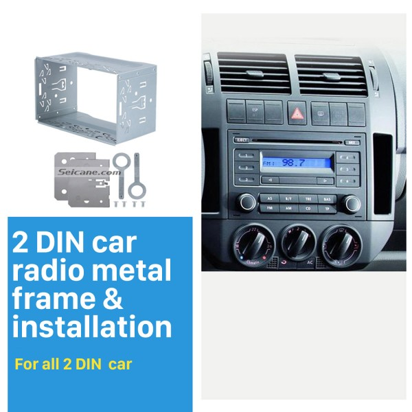 Double Din Radio Metal Frame Fascia Dash Panel for Universal DVD Player Car Radio Stereo Installation Mount Trim kit