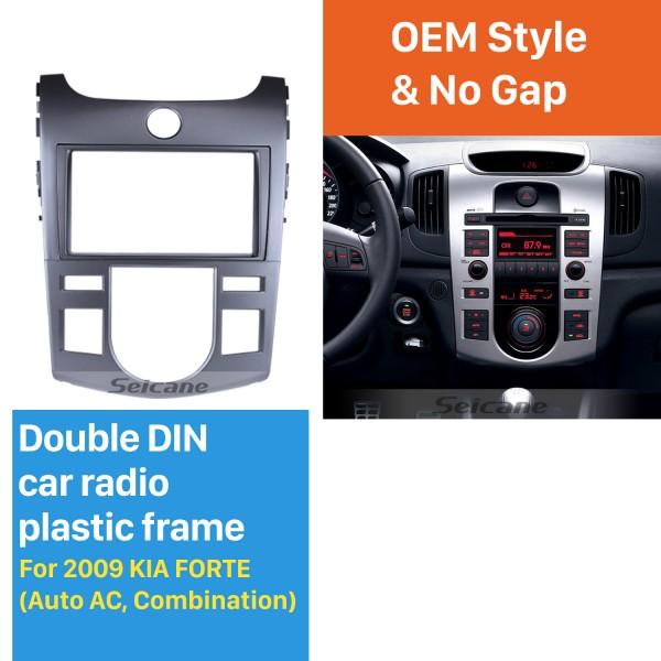 Silver Combination Double Din 2009 KIA FORTE Auto AC Car Radio Fascia Styling Panel Dash Mount Frame CD Trim