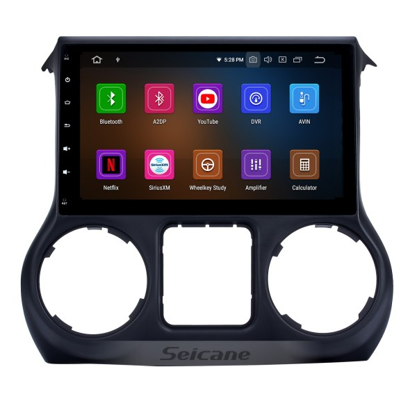 10.1 inch HD Touch Screen 2011-2014 2015 2016 2017 JEEP Wrangler Android 9.0 GPS Navigation Radio with Mirror Link OBD2 Digital TV Wifi Bluetooth Music Steering Wheel Control Rearview Camera