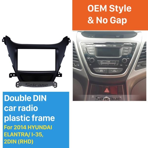 Elegant Double Din 2014 HYUNDAI ELANTRA I-35 RHD Car Radio Fascia In Dash Mount Kit Surround Panel Audio Cover Frame