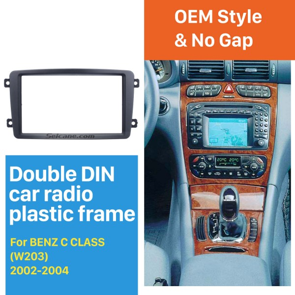 Superior Double Din 2002 2003 2004 Mercedes BENZ C CLASS W203 Car Radio Fascia DVD Player Panel Frame Kit Stereo Dash