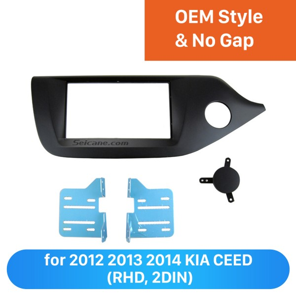 Black Double Din Car Radio Fascia for 2012 2013 2014 KIA CEED Right Hand Car DVD Frame Stereo Install Face Plate