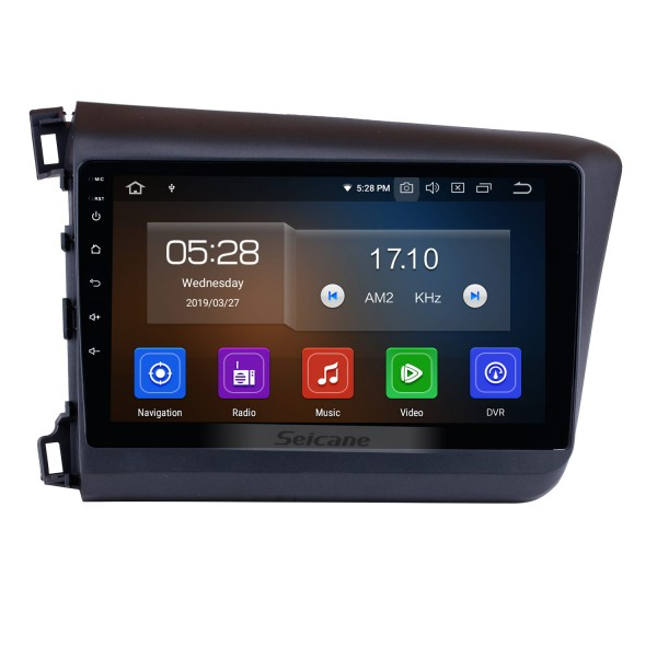 10.1 inch  2012 Honda Civic Android 9.0 Radio GPS navigation system with HD 1024*600 touch screen Bluetooth OBD2 DVR Rearview camera TV 1080P Video 3G WIFI Steering Wheel Control USB Mirror link