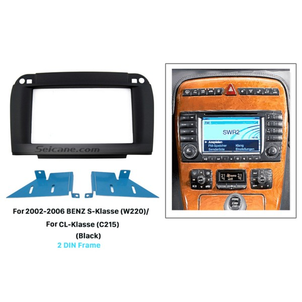 Black 2 Din 2002-2006 BENZ S-Class W220 CL-Class C215 Car Radio Fascia DVD Panel Installation Trim Dash Kit Audio Cover Frame