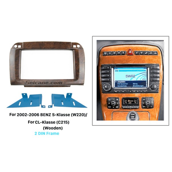 Wooden Color 2Din 2002-2006 BENZ S-Class W220 CL-Class C215 Car Radio Fascia Surround Panel DVD Frame Autostereo Interface