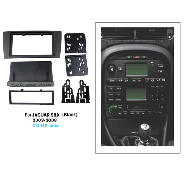 Black Double Din Car Radio Fascia for 2003-2008 Jaguar S&X Stereo Interface DVD GPS Trim Install Frame
