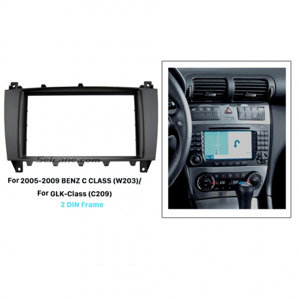 Black 2Din 2005-2009 Mercedes BENZ C CLASS W203 GLK-Class C209 Car Radio Fascia Stereo Install Panel Kit Audio Fitting Frame