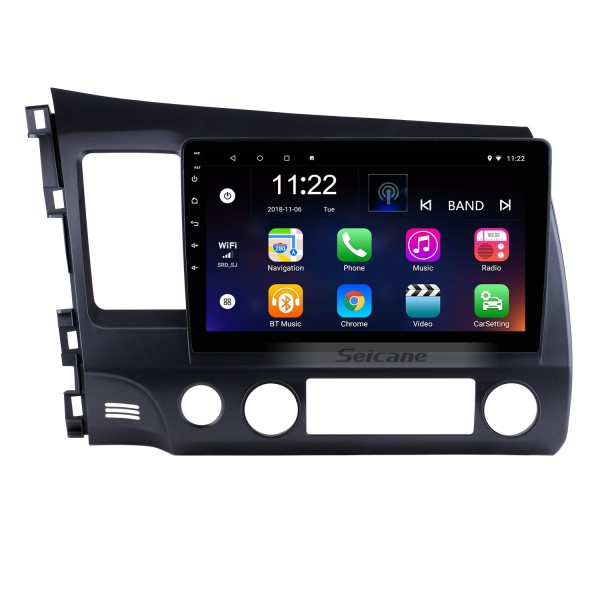 10.1 inch 1024*600 HD Touch Screen Android 10.0 GPS Navigation Radio for 2006-2011 Honda Civic(LHD) with Bluetooth WIFI OBD2 USB Audio Aux 1080P Rearview Camera