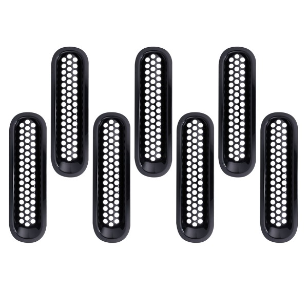 Car Accessories Black ABS Plastic Front Grille Grid Set for 2007-2016 Jeep Wrangler Mesh Cover 7pcs