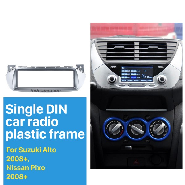 Silver 1Din 2008+ Suzuki Alto Nissan Pixo Car Radio Fascia Dash CD Stereo Player Audio Fitting Frame Adaptor