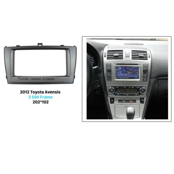 Exquisite 202*102 Double Din 2009-2013 Toyota Avensis Car Radio Fascia DVD Frame In Dash Mount Kit Trim Bezel