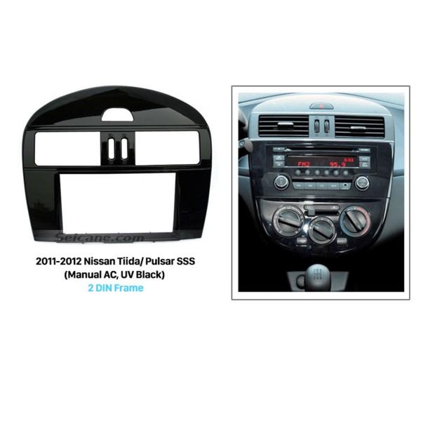 UV Black 2Din 2011 2012 Nissan Tiida Pulsar SSS with Manual AC Car Radio Fascia Panel Plate Stereo Frame Dash CD Trim Bezel