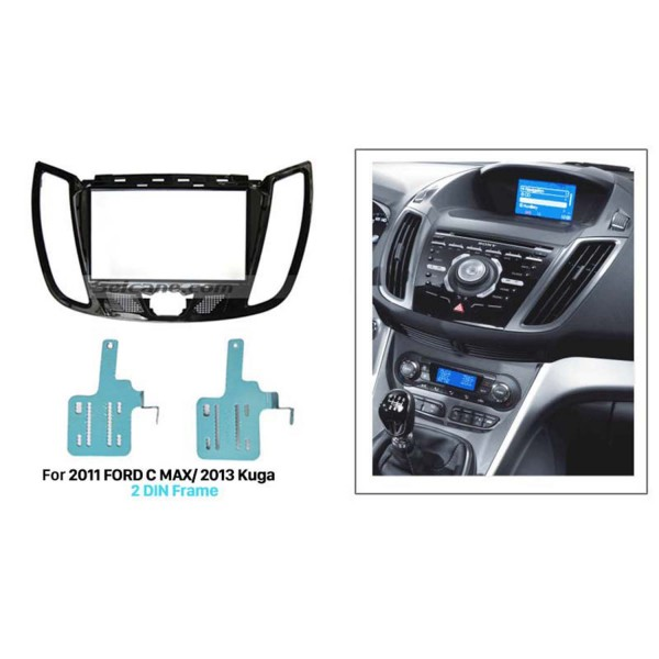 UV Black Double Din Car Radio Fascia for 2011 FORD C MAX 2013 Kuga Audio Cover Stereo Install DVD  Frame Panel