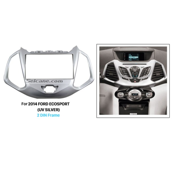 UV Silver Double Din Car Radio Fascia for 2014 Ford Ecosport Auto Stereo Adapter DVD Panel Audio Frame