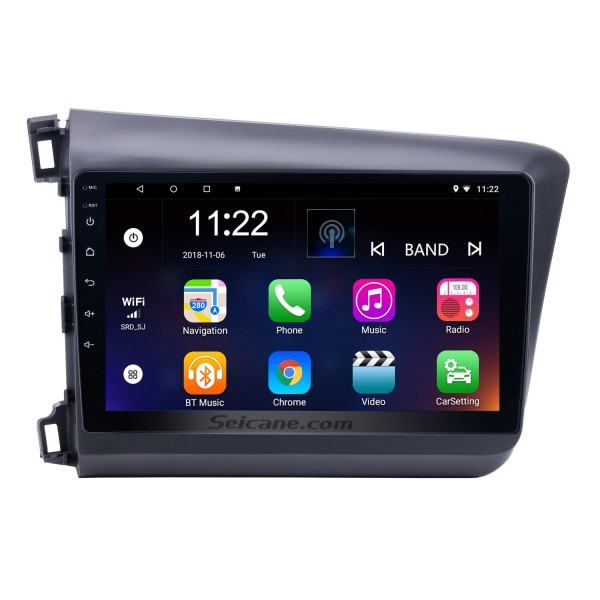 10.1 inch Android 8.1 Radio GPS Car Audio System for 2012 Honda Civic with Bluetooth Music 3G WiFi Mirror Link OBD2 HD 1024*600 Multi-touch Capacitive Screen