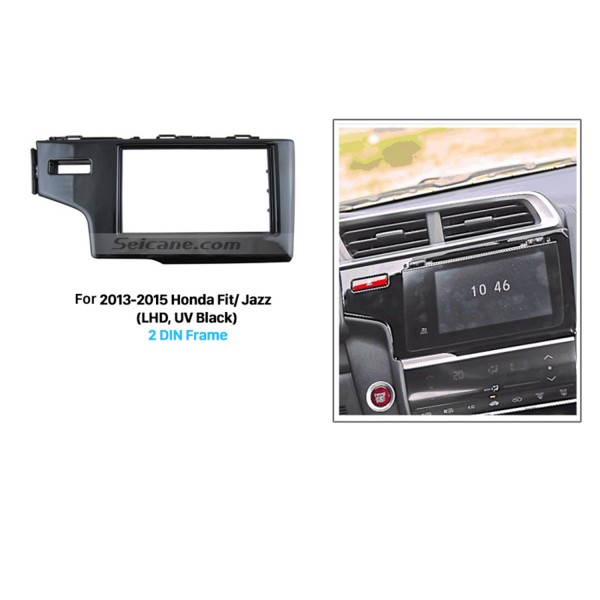Matt Black 2 Din 2013 2014 2015 Honda Fit Jazz LHD Car Radio Fascia In Dash Mount Kit Fitting Frame Auto Stereo