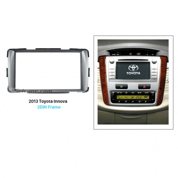 Silver Double Din 2013 Toyota Innova Car Radio Fascia Stereo Install Dash Kit Panel Plate Frame