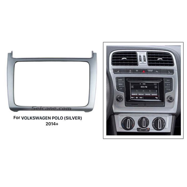 Silver Double Din 2014 Volkswagen Polo Car Radio Fascia Stereo Player Dash Trim Kits Refitting Outter Frame