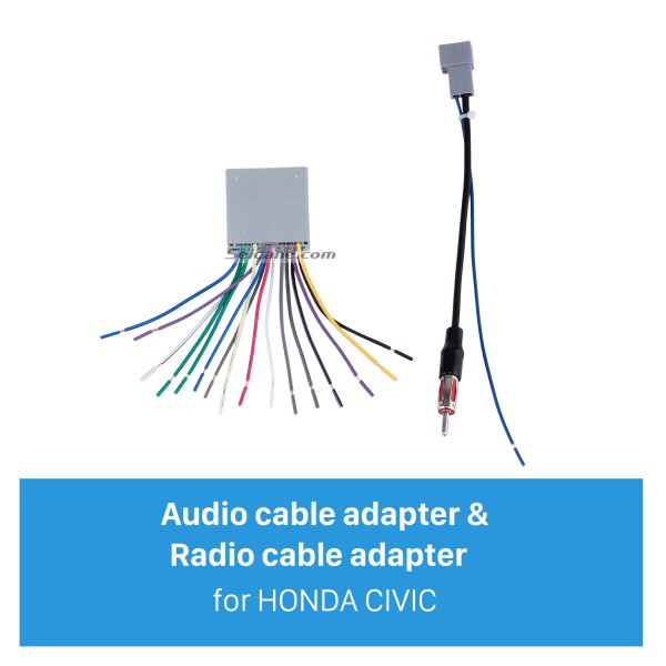 Top Wiring Harness Adapter Audio Cable and Radio Antenna Cable for HONDA CIVIC