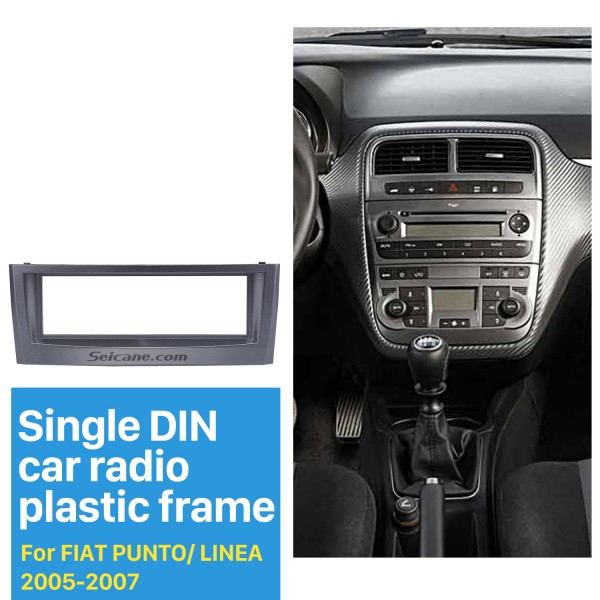 Grey 1Din Car Radio Fascia for 2005 2006 2007 FIAT PUNTO LINEA Stereo Install Dash Kit DVD Frame CD Trim