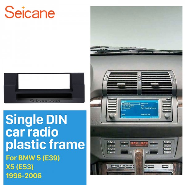 High Quality 1DIN 1996-2006 BMW 5 E39 X5 E53 Car Radio Fascia Dash DVD Player Trim Installation Kit Install Frame