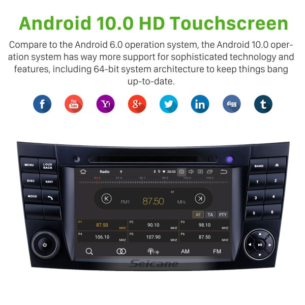 7 inch Mercedes Benz CLK W209 HD Touchscreen Android 10.0 GPS Navigation Radio Bluetooth Carplay USB Music AUX support TPMS DAB+ Mirror Link