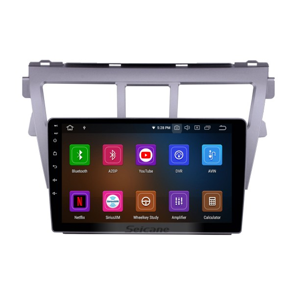 9 Inch HD Touchscreen GPS Navigation System Auto stereo 2007-2012 Toyota Vios Android 10.0 Support Car Stereo OBDII  3G/4G WIFI Video Steering Wheel Control DVR