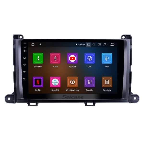 Android 10.0 9 inch GPS Navigation Radio for 2009-2014 Toyota Sienna with HD Touchscreen Carplay Bluetooth WIFI USB AUX support Mirror Link OBD2 SWC
