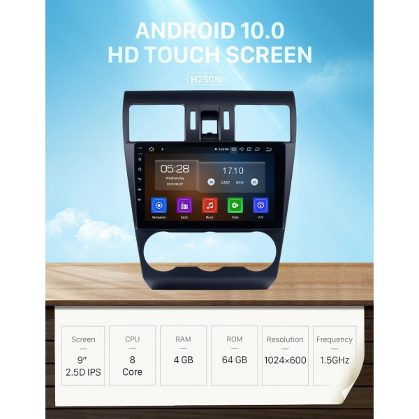HD Touchscreen 2014 2015 2016 Subaru Forester Android 10.0 9 inch GPS Navigation Radio Bluetooth USB Carplay WIFI Music AUX support TPMS SWC OBD2 Digital TV