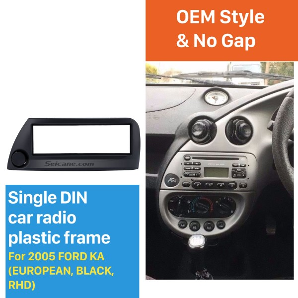 Black 1Din Car Radio Fascia for 2005 Ford Ka European Right Hand Car Audio Frame Trim Bezel Dash Kit