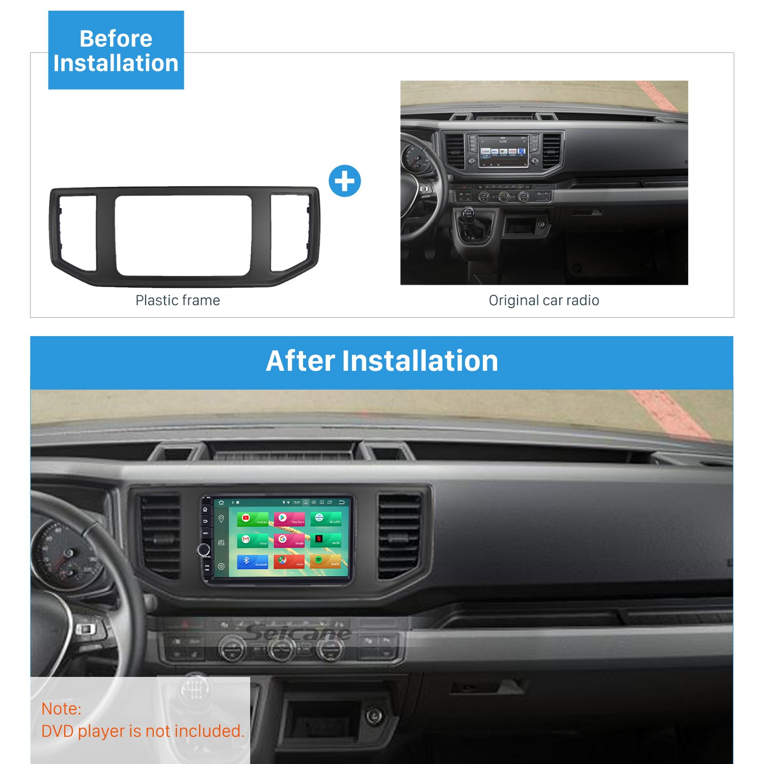 OEM style 2017 2018 2019 VOLKSWAGEN CRAFTER Car Radio Fascia Frame