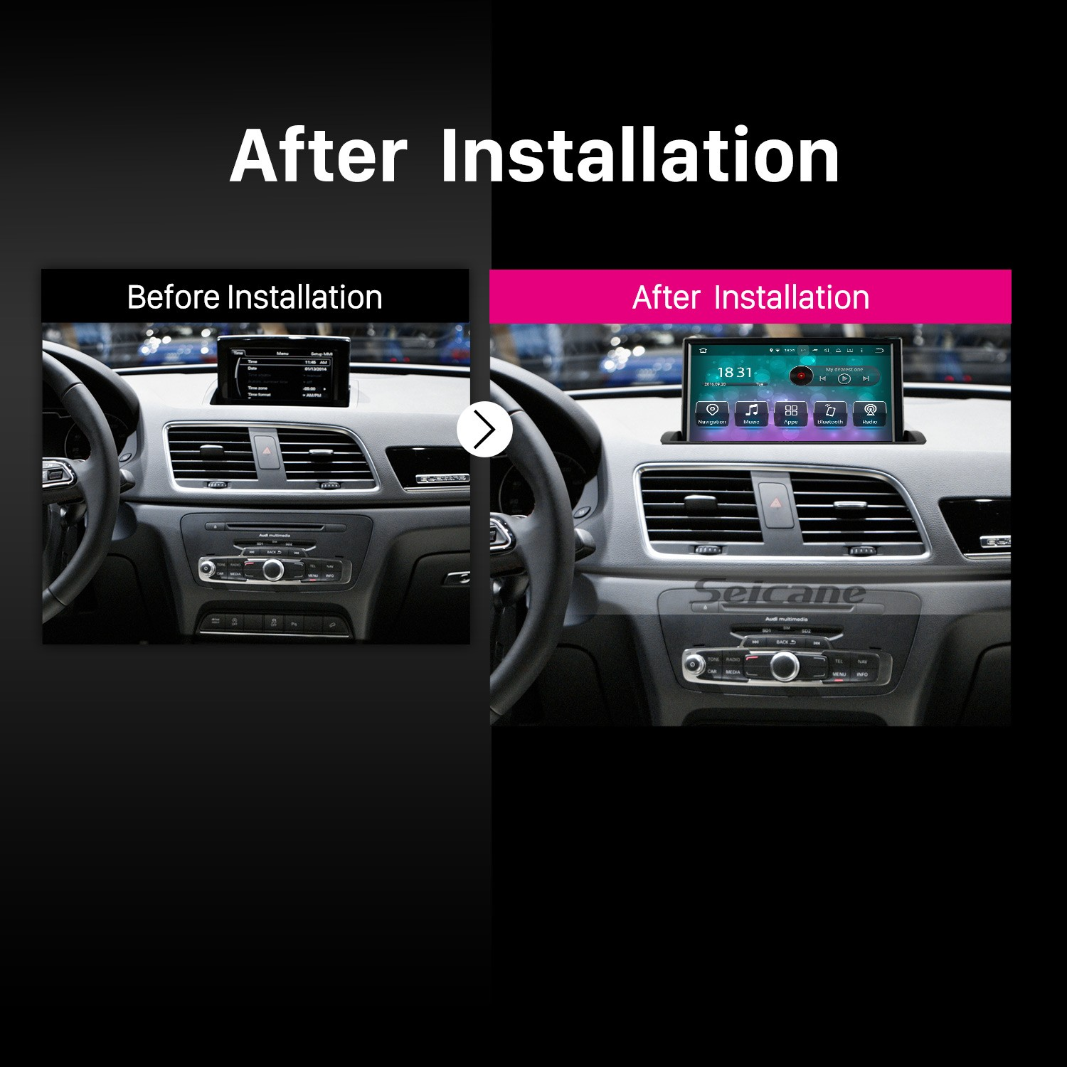 Android 7 1 Radio 8 inch GPS Navigation for 2011-2018 AUDI Q3 Head