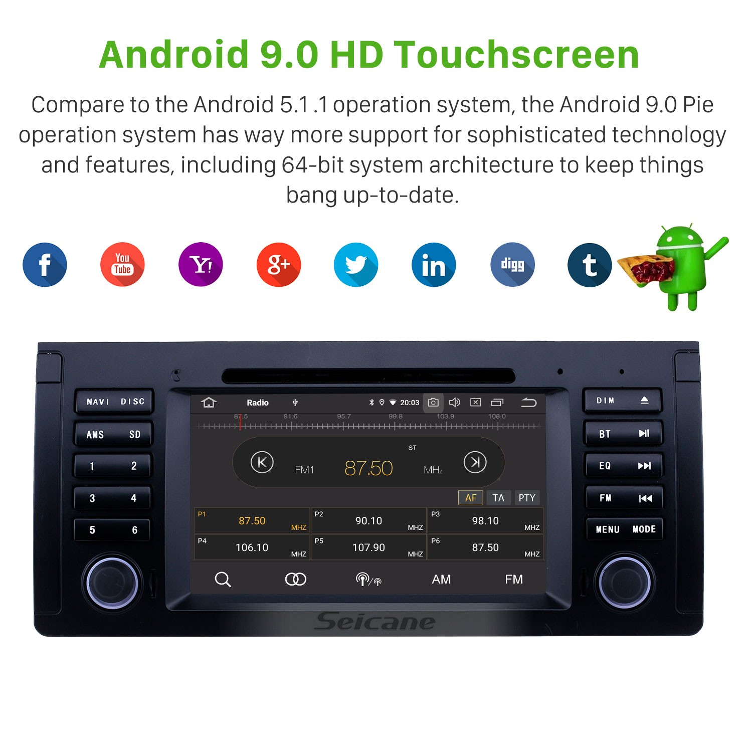 7 Inch Android 9 0 Gps Navigation Radio For 1996